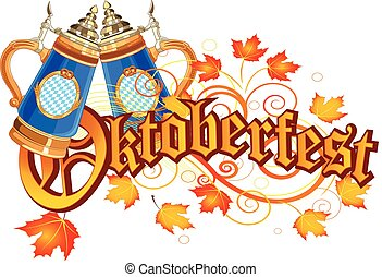 Oktoberfest Celebration design with glass of beer autumn...