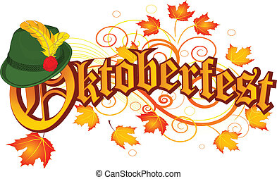Oktoberfest celebration design with Bavarian hat and autumn ...