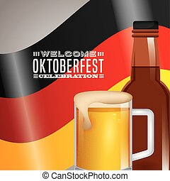 Oktoberfest celebration illustration, beer festival design