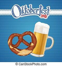 oktoberfest, cerveja, pretzel, fundo