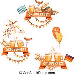 oktoberfest, cerveja, vetorial, ribbons., ilustrações, bandeiras, celebration.