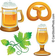 oktoberfest., cerveza, colecciones, set., cerveza, pretzel, ...