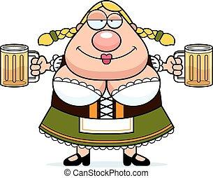 oktoberfest, cerveza, mujer, caricatura