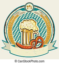 oktoberfest, cibo, etichetta, vecchio, fondo, birra, ...