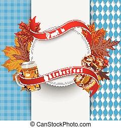 "Oktoberfest Cloth Emblem Beer Foliage - German text ""O?zapft..."