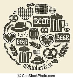 oktoberfest, colección, iconos