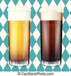 oktoberfest, concept., moderno, birra, glasses.