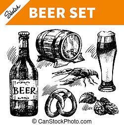oktoberfest, conjunto, beer., bosquejo, ilustraciones, mano, dibujado