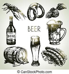 oktoberfest, conjunto, beer., mano, ilustraciones, dibujado
