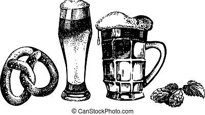 oktoberfest, conjunto, saltos, cerveza, mano, pretzel., ...