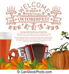 Oktoberfest design. Invitation to a beer party