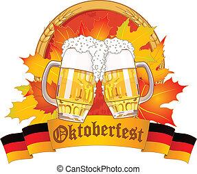 Oktoberfest design with beer glasses