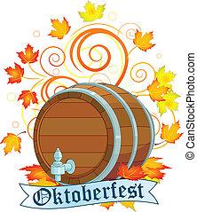Oktoberfest design with keg - Decorative Oktoberfest design...