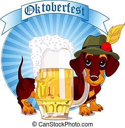 Oktoberfest dog - Oktoberfest design of dachshund dog and a...