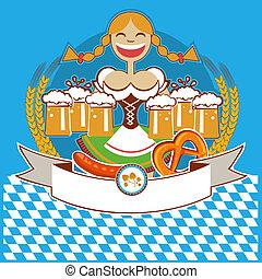 oktoberfest, donna, colorare, simbolo, etichetta, testo, illustrazione, beer., vettore