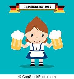 oktoberfest, donna, in, costume tradizionale, con, birra