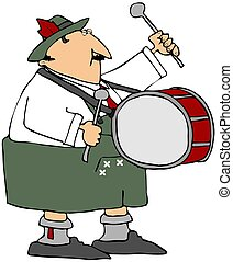 Oktoberfest Drummer - This illustration depicts a man...