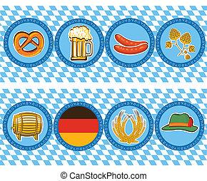 oktoberfest, elementi, birra, vettore, etichette, simbolo.