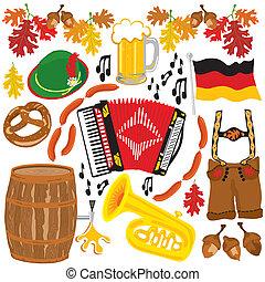 oktoberfest, elementos, clipart, fiesta