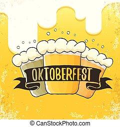 oktoberfest, eller, baner, mall, octoberfest, etikett, hand, flygare, vektor, öl, grafik formge, bakgrund., årgång, affisch, oavgjord