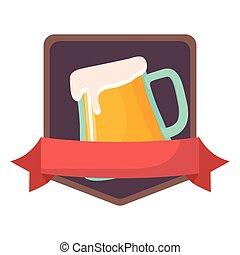 oktoberfest, emblema, vetro birra, tazza, bandiera