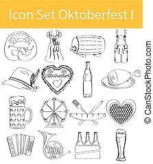 oktoberfest, ensemble, griffonnage, dessiné, revêtu, icône