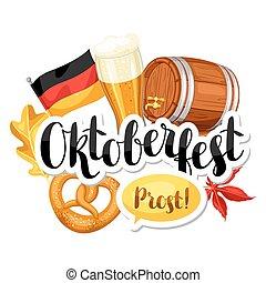 oktoberfest, festival., cartaz, festa, ilustração, cerveja,...