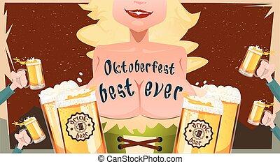 Oktoberfest Festival Girl Waitress Hold Beer Mug Glasses