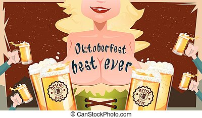 Oktoberfest Festival Girl Waitress Hold Beer Mug Glasses