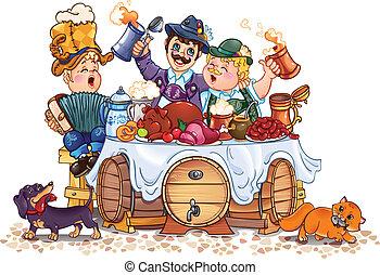 Oktoberfest festival - humorous vector drawing of festival