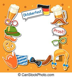 oktoberfest, festival, porte-photo, conception, cabine, fête, stickers.