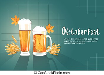 oktoberfest, festival, vetro birra, tazza, bandiera