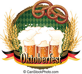 oktoberfest, fichier, transparency., coupure, célébration, gradients, contient, masque, bière, conception, cadre, pretzel., boisé