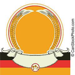 oktoberfest, flag., symbole, texte, étiquette, isolé, bière, vecteur, conception, allemand, blanc