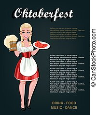 German girl in traditional costume on Oktoberfest - ...