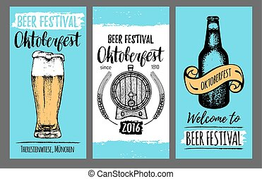 Oktoberfest flyers. Beer festival cards with hand sketched glass, barrel, bottle. Vector brewery posters. Wiesn symbols.
