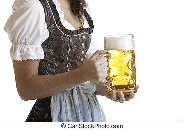 oktoberfest, fyllda, henne, ölkrus, dirndl, klätt, bayersk, ...