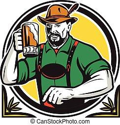 Oktoberfest German Beer Drinker Circle Retro - Illustration...