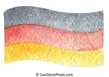 Oktoberfest German flag waving in the wind. Hand drawn watercolor painting on white background clip art graphic elements for creative design and printable decor.
