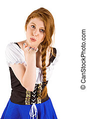 Oktoberfest girl blowing a kiss on white background