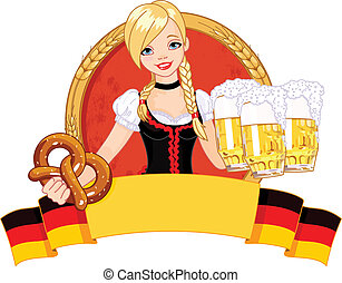 Oktoberfest girl design - Illustration of funny German girl...