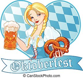 Oktoberfest girl - Funny German girl drinking beer