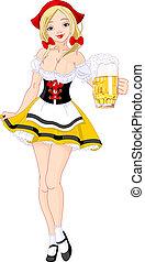 Oktoberfest girl - Illustration of cute German girl serving...