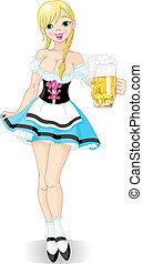 Oktoberfest girl - Illustration of funny German girl serving...