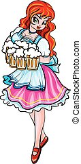 Oktoberfest girl is dressed in national clothes and carries beer mugs, isolated object on a white background, vector illustration,