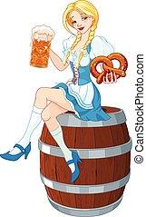 Oktoberfest Girl on the Keg