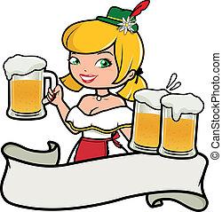 Oktoberfest girl serving beer. Vector illustration