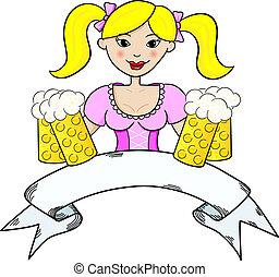 Oktoberfest girl serving beer with banner