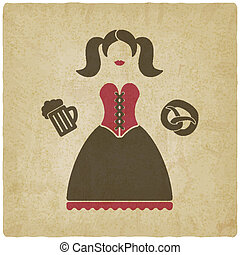 Oktoberfest girl with beer mug and pretzel - vector...