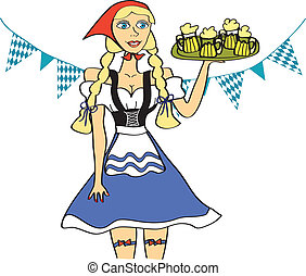Oktoberfest Girl - Young Oktoberfest waitress with a tray of...